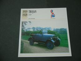CARTOLINA CARD SCHEDA TECNICA  AUTO  CARS  TROJAN 10 HP - Autres Collections