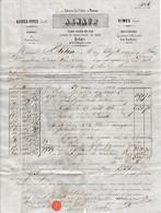 1854 - AIGUES-VIVES (30) - Graines De VERS A SOIE - Vin - Eaux De Vie - Maison ARNAUD - Documents Historiques