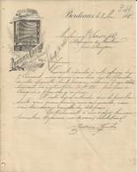 BORDEAUX PROUTEAUX CHAUBIN USINE A VAPEUR SPECIALITE POUR ETIQUETTES A MR SORIN A SAUJON ANNEE 1888 - Francia