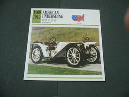 CARTOLINA CARD SCHEDA TECNICA  AUTO  CARS  American Underslung Fifty 50-60 Hp - Altri