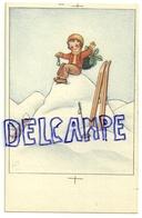 Enfant Assis Sur Un Monticule De Neige. Houx Et Skis. Signé ALI. - Vieux Papiers