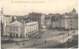 POSTAL    PERPIGNAN  -FRANCIA  - PLACE DE LA VICTOIRE ET LE CASTILLET - Perpignan