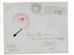 1940 - CROIX-ROUGE / RED CROSS - ENVELOPPE FM De LILLE (NORD) => PARIS - Storia Postale