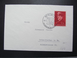 DR Nr. 772, 1941, Brief, EF, Sonderstempel Berlin C2 *DEL2112* - Germany