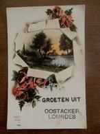 Oude Postkaart  GROETEN Uit  OOSTACKER  - Lourdes  Belgie - Souvenir De...