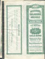 MISSOURI OKLAHOMA AND GULF RAILROAD CONPANY First Mortgage Five Per Cent 100$ Gold Bond - (2 Feuilles Avec Illustrations - Chemin De Fer & Tramway