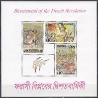 Bangladesch Bangladesh 1989 Geschichte History Französische French Revolution Gemälde Paintings Delacroix, Bl. 15 ** - Bangladesch