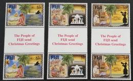 Fiji  1996 Christmas LOT  Gutter Pair - Fiji (1970-...)