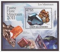 0035 Comores 2011 Minerals Topaz Lazurite S/S MNH Imperf - Mineralen