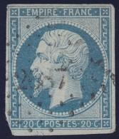 N°14An Bleu Laiteux Sur Vert, Très Belle Nuance Moins Visible Sur Le Scan Mais Garantie, 1 Angle Court Et Une Froissure - 1853-1860 Napoleon III