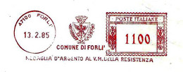 ITALIA - 1985 FORLI'  Medaglia Argento V.m. Resistenza - Ema Affrancatura Meccanica Rossa Red Meter - Seconda Guerra Mondiale
