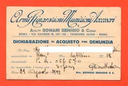 Pistole Fucili Arms Porto D'armi Denunzia Acquisto Arma Roma 1932 Dichiarazione Arma Da Difesa - Decreti & Leggi