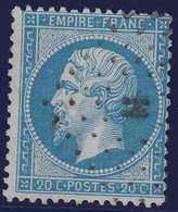 N°22 Oblitéré Lettres Bâtons H, Bien Marqué, TB. - 1862 Napoleone III