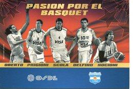 PASION POR EL BASQUET OBERTO PRIGIONI SCOLA DELFINO NOCIONI OSDE SPONSOR 2010 ARGENTINA POSTAL PUBLICIDAD - LILHU - Basketbal
