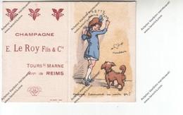 Calendrier 1925 Avec Publicité : CHAMPAGNE E. LE ROY Fils Et Cie Tours Sur Marne (dessin Humroristique:Josette Aime Toto - Petit Format : 1921-40