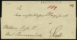 HANNOVER Ca. 1825, VORPHILABRIEF MIT L1 BREMERFÖRDE NACH STADE, TAXVERMERKE - Allemagne