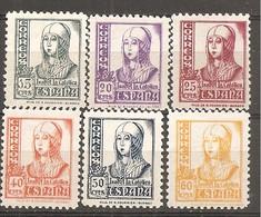 España/Spain-(MNH/**) - Edifil 820-22, 824-26 - Yvert 580A-82, 584-86 - 1931-50 Nuevos & Fijasellos