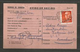 SPAIN - ESPANA - AVISO DE RECIBO   - D 3184 - Espagne