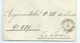 """Lettre Avec Cachet """" Bucuresci Dimineata Pour VII Régiment De Linie N°409 à Iasi - Postmark Collection"""