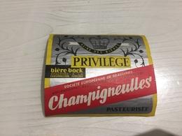 Ancienne Étiquette BIÈRE BOCK CHAMPIGNEULLES BRASSERIE MEURTHE-ET-MOSELLE - Bière