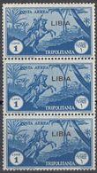 LIBIA (COLONIA ITALIANA) - 1937 - Tre Valori Nuovi MNH Di Yvert Posta Aerea 5 Uniti Fra Loro. - Libyen