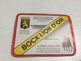 Ancienne Étiquette BIÈRE BOCK LION D'OR BRASSERIE STÉ MARIE DUBUS DEFFONTAINES ANNAPPES - Bière