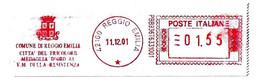 ITALIA - 2001 Comuni D'Italia: REGGIO EMILIA Città Del Tricolore E Medaglia Oro V.m. Resistenza - Affrancatura Red Meter - Affrancature Meccaniche Rosse (EMA)