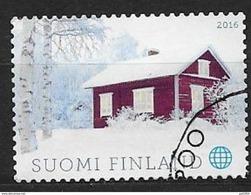 Finlande 2016 Timbre Oblitéré Chalet En Bois - Finnland