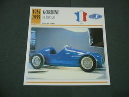 CARTOLINA CARD SCHEDA TECNICA  AUTO  CARS  GORDINI  F1 TIPO 20 - Altri