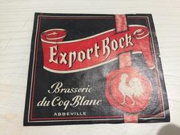 Ancienne Étiquette BIÈRE EXPORT  BOCK BRASSERIE DU COQ BLANC ABBEVILLE SOMME - Bière