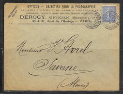 LOT 1812335 - N° 132 SUR LETTRE DE PARIS DU 19/04/04 POUR SAVERNE - CACHET DU TRIBUNAL DE COMMERCE - OPTICIEN DEROGY - Postmark Collection (Covers)