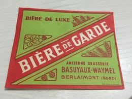 Ancienne Étiquette BIÈRE DE GARDE BRASSERIE BASUYAUX WAYMEL BERLAIMONT NORD - Bier