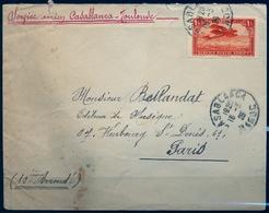 1926 , MARRUECOS FRANCÉS , SOBRE CIRCULADO ENTRE CASABLANCA Y PARIS , SERVICIO AÉREO CASABLANCA - TOULOUSE - Maroc (1891-1956)