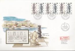 DÄNEMARK  FÄRÖER  MH 1, FDC, Markenheftchen-Ersttagsbrief, Schach-Figuren 1983 - Féroé (Iles)
