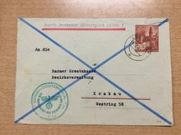 K6 Generalgouvernement Galizien Ganzsache Stationery Entier Postal U 2 Vorderseite Von Lemberg Nach Krakau - Ocupación 1938 – 45