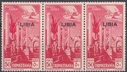 LIBIA (COLONIA ITALIANA) - 1937 - Tre Valori Nuovi MNH Di Yvert Posta Aerea 4 Uniti Fra Loro, Come Da Immagine. - Libyen