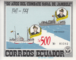 1991 Ecuador Naval Battle Navy Ships Souvenir Sheet MNH - Ecuador