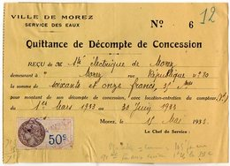 VP13.868 - Ville De MOREZ 1933 - Service Des Eaux - Quittance / Reçu -  Sté Electrique De MOREZ - Electricity & Gas