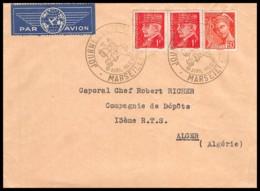 11015 Lettre Bouches Du Rhone Mercure Pétain PA Poste Aerienne Marseille Journée Du Timbre 1942 FDC Premier Jour Algérie - FDC