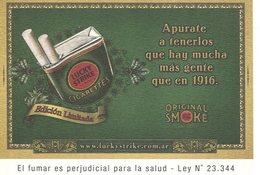 LUCKY STRIKE CIGARETTES EDICION LIMITADA ORIGINAL SMOKE CIGARRILLO ARGENTINA POSTAL PUBLICIDAD - LILHU - Tabak
