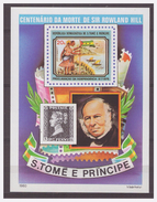 0053 Sao Tome E Principe Sir Rowland Hill MNH Black Penny S/S Imperf - Rowland Hill