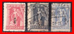 GRECIA – GREECE  3 SELLOS 1913-23 - IRIS HOLDING CADUCEUS - Grecia