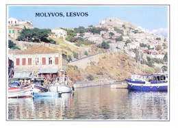 GREECE : COLOUR PICTURE POST CARD : COMMERCIALLY SENT TO GERMANY : MOLYVOS, LESVOS - Greece