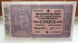 MINI BANCONOTA FAC-SIMILE CINQUE LIRE 1882 - Specimen