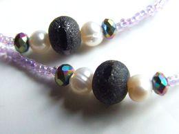 Cordon à Lunettes Artisanal, Perles Japonaises, Toho 15/0 N°269 Lavender Rainbow, Cristal Facetté, Quartz Titane Noir, P - Bijoux & Horlogerie