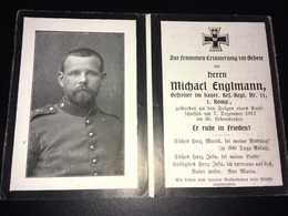 Sterbebild Wk1 Bidprentje Avis Décès Deathcard RIR11 SELVIGNY MALINCOURT Dezember 1917 - 1914-18