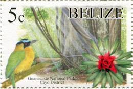 Lote Be1, Belize, 2005, Sello, Stamp, Guacanaste National Park, Bird, Ave, Flower, Flor - Belice (1973-...)
