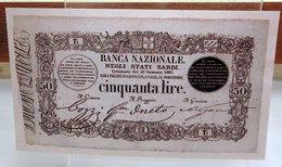 MINI BANCONOTA FAC-SIMILE 50 LIRE BANCA NAZIONALE NEGLI STATI SARDI - Specimen