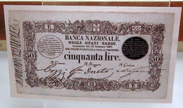 MINI BANCONOTA FAC-SIMILE 50 LIRE BANCA NAZIONALE NEGLI STATI SARDI - Fictifs & Spécimens