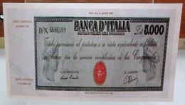 MINI BANCONOTA FAC-SIMILE LIRE 5.000 1945 - Fictifs & Spécimens